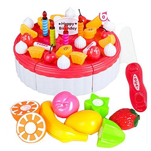 65 pièces de coupe de gâteau Pretend Play Set alimentaire pour les enfants,Rouge