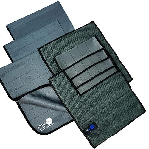 Paños de microfibra de carbono Strapure – Juego de 7 paños de fibra de carbono – cristales, muebles, carrocería, interior coche, pantalla de TV, grosor 400 g/m² y 20% de fibra de carbono, color negro