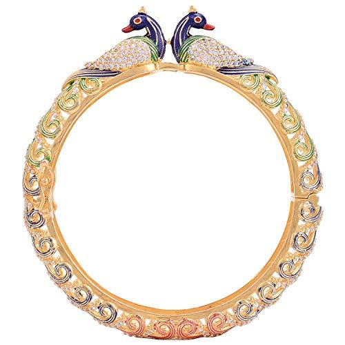 Ratnavali Jewels CZ Zirkonia Gold Tone Pfau Multi Emaille zu öffnen indische Bollywood Hochzeit Armreifen Kada Schmuck Frauen Braut