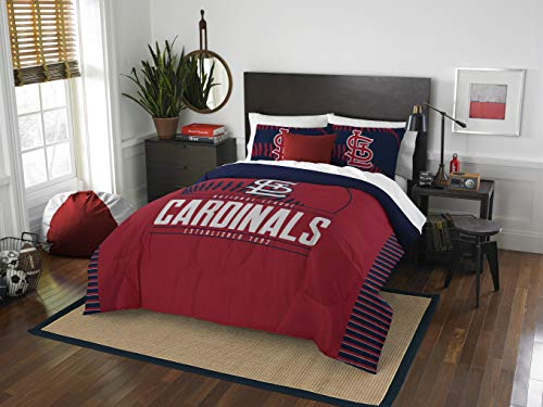 Officially Licensed MLB St. Louis Cardinals 'Grand Slam' Full/Queen Comforter & Shams Set, Red, 86'W x 86'L