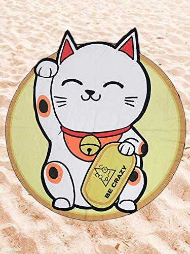 Toalla de Playa Microfibra Gato Chino - Diseño Innovador, Fresco, Tentador y Divertido de un Gato Chino.