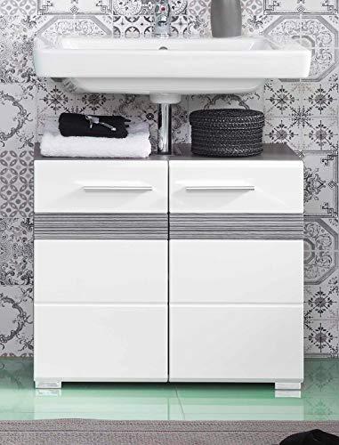 Badmöbel Waschbeckenunterschrank SetOne in Hochglanz weiß und Sardegna grau Rauchsilber Badschrank 60 x 56 cm