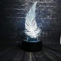 3D LED錯視ランプ フェザーナイトライトフィギュアハウスションフラッシュランプ寝室スリープライト7色変更男の子キッズクリスマスギフトおもちゃ