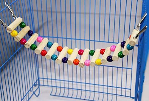 Jiandong Juguetes de Aves Birds Animales Loros Subir escaleras Colgantes Juguete Bolas Coloridas con Madera Natural (Color : 8 Ladders)
