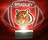 Cincinnati Bengals NFL Football Night Light Multi Color Personalized LED Plug-in, Ultra-Slim Cool-Touch Light with Smart Dusk to Dawn Sensor, Family Room Bedroom Kitchen Bathroom Hallway, Super Cool