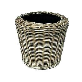 Corbeille à fleurs ronde en rotin – Gris beige – Panier en osier avec insert pour extérieur/extérieur – Panier de jardin…