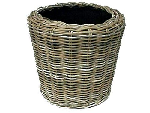 Fioriera rotonda in rattan – grigio beige – Cestino in vimini con inserto per esterni/esterni – cesto da giardino in vimini – vaso per piante da giardino (Ø 45 cm / altezza 49 cm)