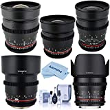 Rokinon Cine Lens Bundle for Micro Four Third Mount with 16mm, 24mm, 35mm, 50mm, 85mm T1.5 and Cleaning Kit