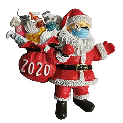 JPSPACE 2020 Christmas Ornament, Personalized Santa Claus Wearing Face Guard, Unique Keepsake Luxury Ornament for Tree, Customized Christmas Decorating Creative Gift for Family