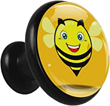 Gele Smiley Bee Zwart Kabinet Knoppen Trekt Ronde Kristal Glas Metalen Knoppen voor Dressoir Laden Kast Deur Badkamer Kast...