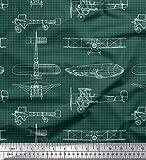 Soimoi Grün Baumwoll-Popeline Stoff Check & Flugzeug