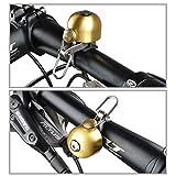 Campana de bicicleta retro clásica de cobre dorado, timbre para bicicleta portátil plegable ligera multifuncional luminosa compacto duradero fuerte alarma sonoraaccesorio para el ciclismo