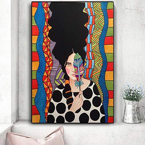 ganlanshu Figura De Moda Belleza Mujer Arte de Pared Pintura sobre Lienzo para la decoración del hogar Fotos Arte de la Pared Cartel e Impresiones,60x90cm