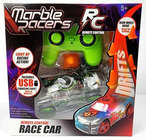 Marble Racers R/C Remote Control Light Up Rechargable Rear Wheel Drive Race Car with Easy-Turn Technology for Any Hard Surface, Green