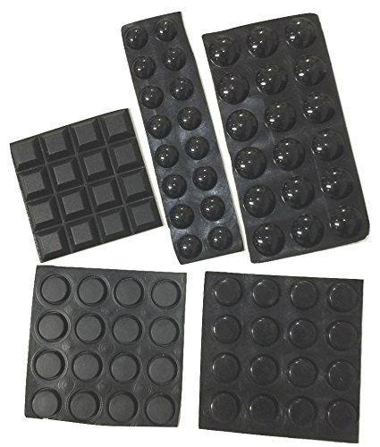 Black Self-Adhesive Bumper Pads 82-Piece Combo Pack (Round, Spherical, Square) - Noise Dampening Rubber Feet for Cabinets, Small Appliances, Electronics, Picture Frames, Furniture, Drawers, Cupboards
