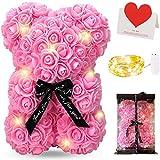 Zodight Oso de Rosas, Oso de Peluche Rosa con Caja Regalo + Cadena de Luz + Tarjetas felicitacion, Oso de Artificial Regalo para Madres/Novia/San Valentín/Cumpleaños/Bodas/Graduación/Aniversarios
