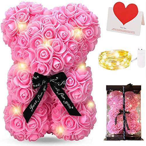 Ours en Rose, Zodight Rose Bear Teddy Flower avec Lumières, Meilleur Cadeau pour la Saint-Valentin, Anniversaire, Fête des Mères, Anniversaires, y Compris Boîte-Cadeau Transparente et Carte d'amour