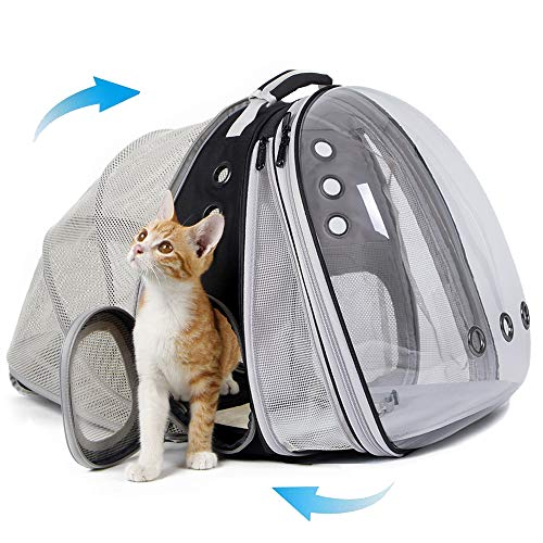 halinfer Expandable Front and Back Cat Backpack Carrier, Dual Expandable Space Capsule Transparent...