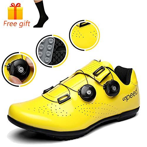 NNZZY Unisex Professional Lock-Free Cycling Shoes Road Bike Shoes Mountain Bike Shoe Breathable Non-Slip Lightweight Rotative Closure Bike Footwear,36