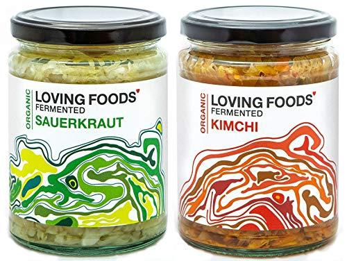 Loving Foods Award-Winning *Certified Organic* Sauerkraut & Kimchi (2 x 500g) Raw, Unpasteurised & Bursting with Beneficial Live Bacteria (2 x Jars)