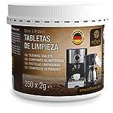 250 pastillas limpiadoras Coffeeano Clean&Protect para cafeteras automáticas y cafeteras. Pastillas limpiadoras aptas para todas las marcas y electrodomésticos. Incluye un libro electrónico