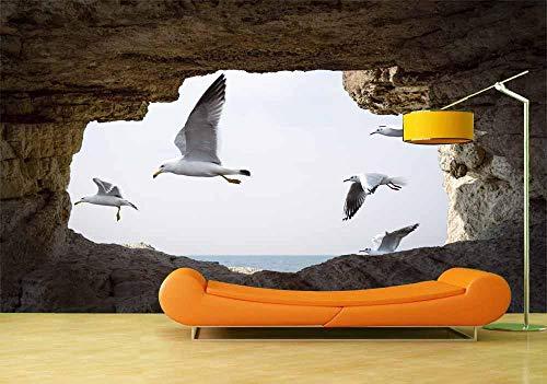 Fotobehang Fotobehang Vogels die buiten vliegen Grot Wanddecoratie Poster Vinyl Verwijderbare muurposter Muurstickers voor slaapkamer-300x210cm(118.1by82.7in)
