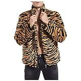 SPE969 Leopard Faux-Fur Coat Men's Plush Jacket Collar Overcoat Winter Warm Outwear,Khaki,M