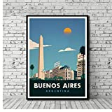 DNJKSA Vintage Travel Poster Buenos Aires Painting Art