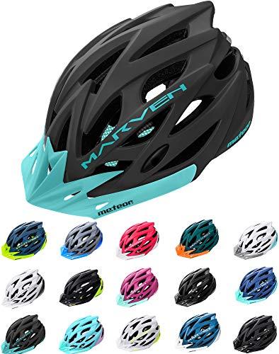 meteor Fahrradhelm Herren Damen Kinder-Helm rollerhelm mädchen kinderfahrradhelm rennradhelm Mountainbike Inliner skaterhelm fahradhelm Scooter Jungen Bike Helmet (M (55-58cm), Schwarz Blau)
