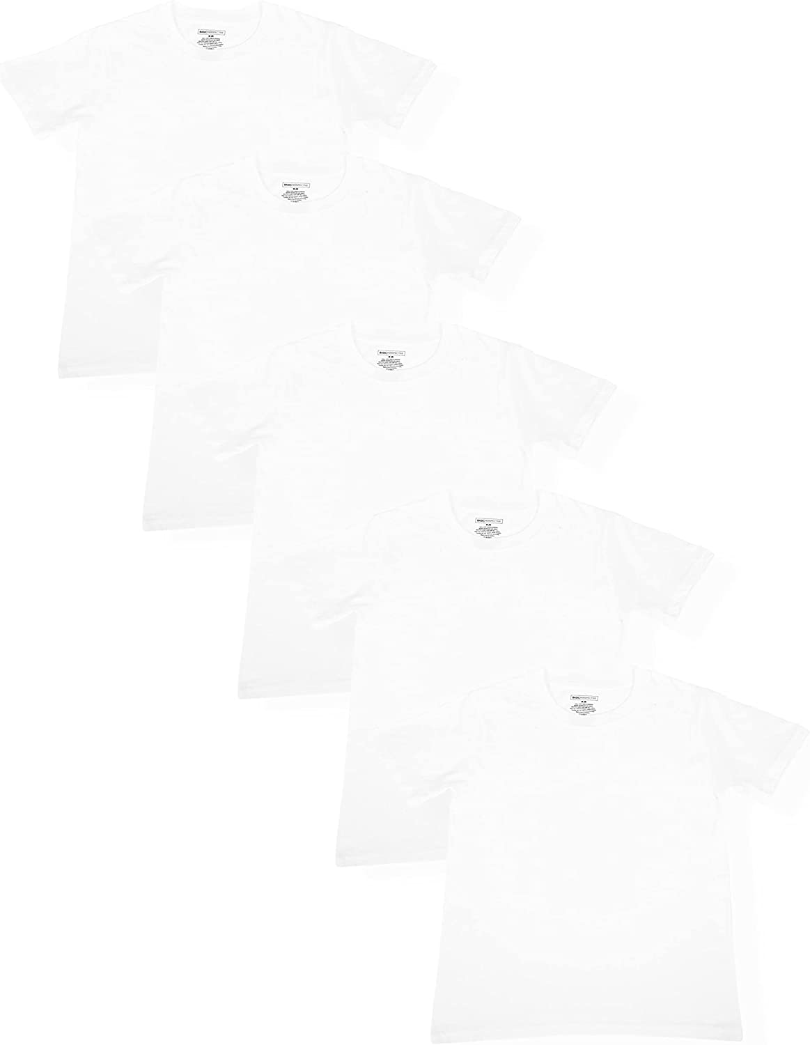Basic Perspective Boy's 100% Cotton Tagless Multi-Pack Crew Neck