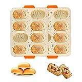 Qiwenr Silicone Baguette, Plaque de Cuisson Moule à Baguette 2pcs Antiadhésif avec Trous du fond pour Pain au Lait Brioches Mini Moule de pain 8 grilles