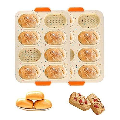 Qiwenr 2PCS Mini Baguette Hornear Bandeja, Bandeja de horno mini baguette, Silicona Antiadherente Bandeja Perforada perforada Pan crujiente para Francés Pan, Pan Palos y Pan Rollos