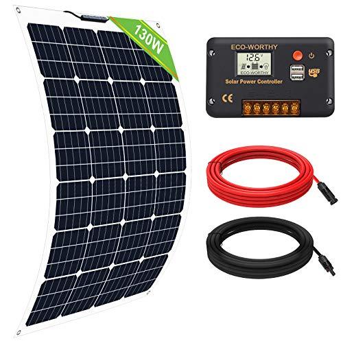 ECO-WORTHY Kit Basic 130W 12V: 1 Panel solar flexible con controlador de carga de 20A para caravana, RV, barco, marino, aplicación fuera de la red