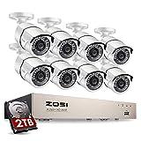 ZOSI Sistema de Vigilancia PoE 1080P 8CH H.265+ Grabador PoE + (8) Cámara de Seguridad Impermeable + 2TB Disco Duro, 30m Visión Nocturna, Detección de Movimiento, Acceso Remoto