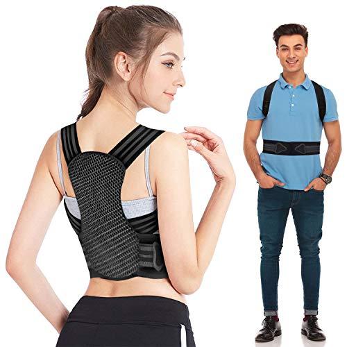 Haltungskorrektur Rücken Geradehalter für Herren Damen und Kinder,mit 2 weichen Polster lindern Schulter,2 herausnehmbare Schienen für starke Unterstützung,Rückenstabilisator Größenverstellbar