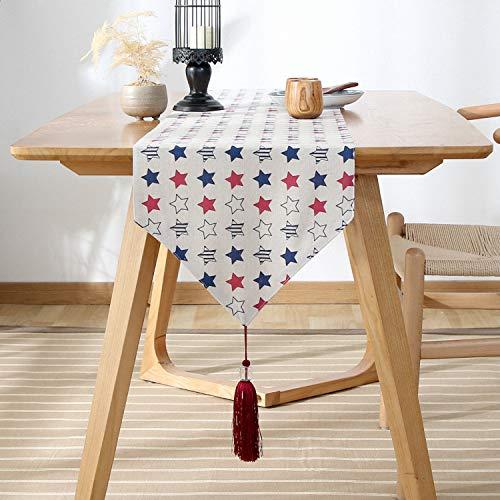 FeiFei156 Fünfzackige Stern Muster Einfache Rechteckige Tisch Flagge Home Tisch Tv Schrank Abdeckung Tuch Pentagram 33 x 120cm