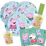 procos/Hobbyfun Juego de 44 piezas para fiesta de Peppa Pig – platos, vasos, servilletas y pajitas para 8 niños