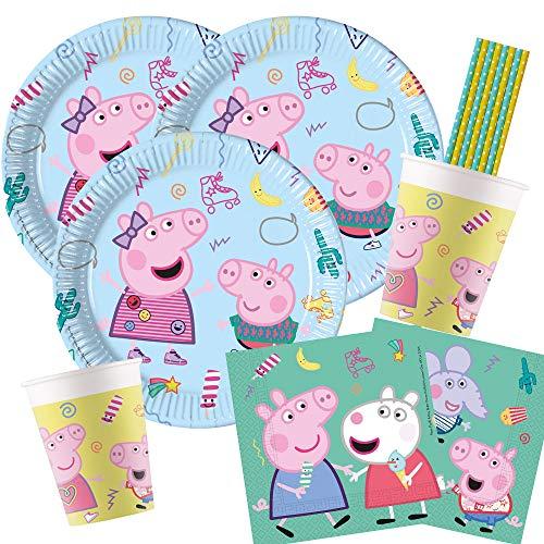 procos/Hobbyfun 44-teiliges Party-Set Peppa Wutz - Pig - Teller Becher Servietten Trinkhalme für 8 Kinder