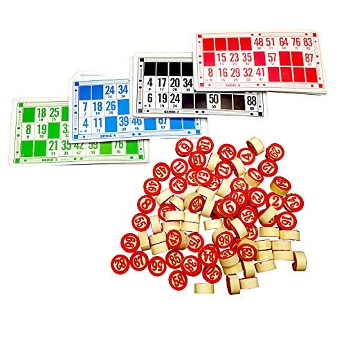 EUROXANTY Set Bingo y 48 cartones | Bingo de Viaje | Juego de Mesa Tradicional | Fichas de números 2 Caras | Práctica Bolsa de Transporte | Números de Madera