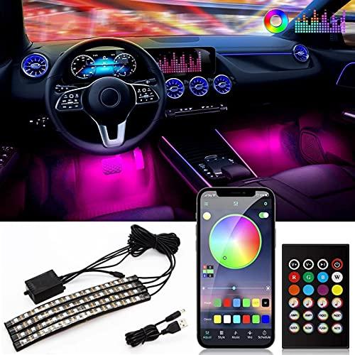 Luces interiores del automóvil, tiras de luces LED para automóviles, 16 millones de colores RGB, control de aplicación Bluetooth, sincronización de música bajo el tablero de iluminación, 4 piezas