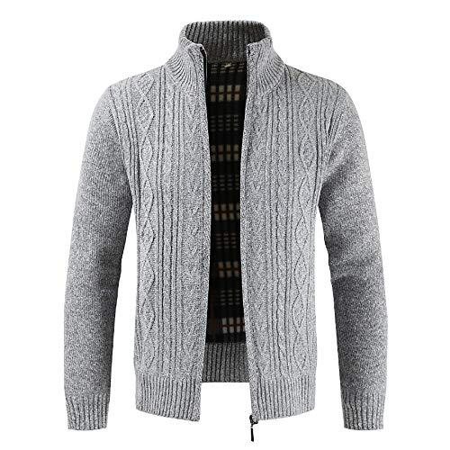 Mens Winter Zipper Outwear Tops Solid Stand Collar Sweater Cardigan Coats(Gray ,M)