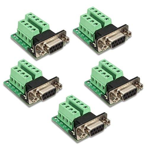 KEESIN DB9 Adattatore femmina a 9 pin RS-232 Serial Port Interface Breakout Board Connettore 5 Pz