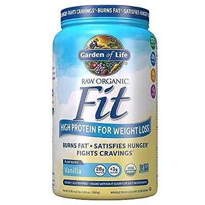 Garden of Life Raw Organic Fit Powder, Vanilla - High Protein for Weight Loss (28g) Plus Fiber, Probiotics & Svetol, Organic & Non-GMO Vegan Nutritional Shake, 20 Servings