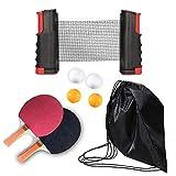 LOAER De Paleta Profesional De Ping Pong con Red Retráctil Y Pelotas Estándar, 2 Raquetas Pro Premium, 4 Pelotas, 1 Red de Tenis de Mesa para Jugar en Interiores o al Aire Libre