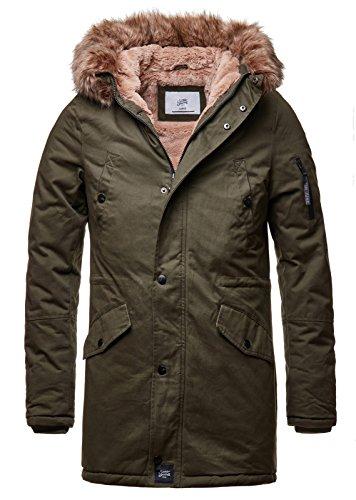 Sixth June Herren Parka Winter Jacke Fell Kapuze Lang Zipper schwarz grün M2000 M3310, Größe:S, Farbe:Khaki