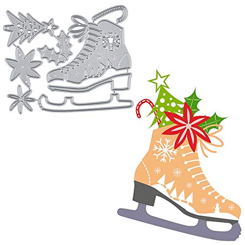 Christmas Flower Shoes Metal Cutting Die Cuts, Ice Skates Shoes Stencils DIY Crafts Cards Cutting Dies Cuts for Card Making Decorative Paper Dies Scrapbooking Crafts