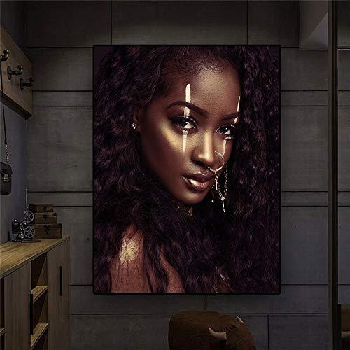 KWzEQ Póster nórdico en Lienzo de Arte Africano Blanco y Negro para Mujer y Estampado escandinavo,Pintura sin Marco,45x60cm