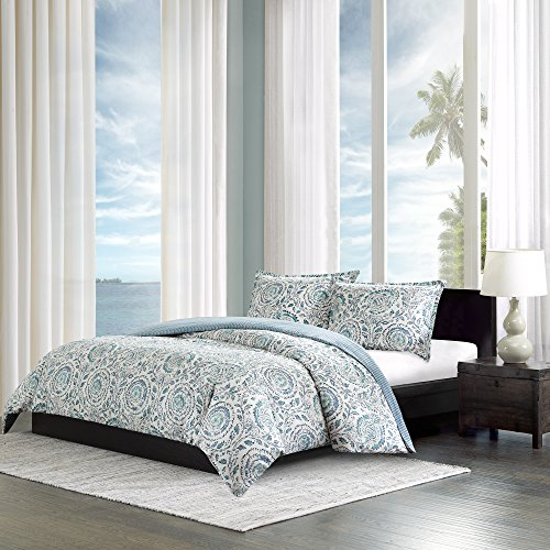 Echo Design Kamala Duvet Cover Twin Size - Blue, White , Floral Medallion Duvet Cover Set – 3 Piece – 100% Cotton Sateen Light Weight Bed Comforter Covers