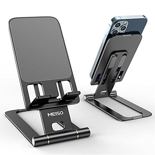 """MEISO Cell Phone Stand, Fully Foldable Phone Holder for Desk, Desktop Mobile Phone Cradle Dock Compatible with iPhone, Samsung Galaxy, iPad Mini, Tablets Up to 10"""" (Black)"""