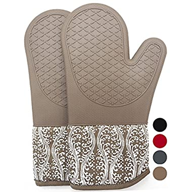 DETA HOME Heat Resistant Silicone Oven Mitts With Quilted Cotton Lining, 1 Pair Non - Slip Extra long Oven Gloves for BBQ, Cooking, Baking, Grilling, Barbecue, Mimicrowave, Machine Washable (brown)